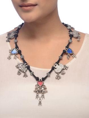 Black Thread Tribal Silver Necklace