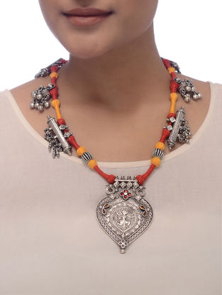 Orange-Yellow Thread Tribal Silver Necklace