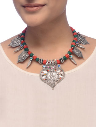 Red-Green Thread Tribal Silver Necklace with Deity Motif