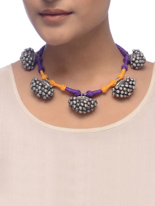 Orange-Purple Thread Tribal Silver Necklace