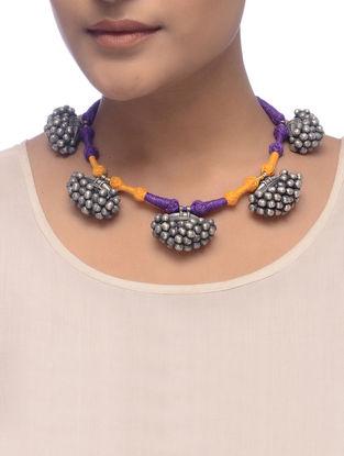 Orange-Purple Thread Tribal Silver Necklace