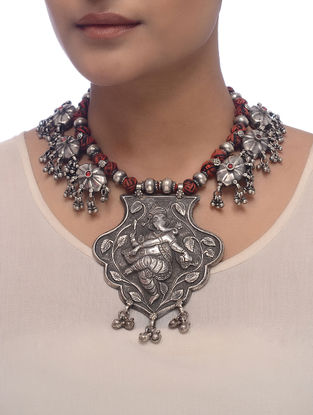 Red-Black Thread Tribal Silver Necklace with Lord Ganesha Motif