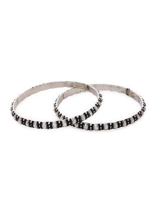 Tribal Silver Bangles Set of 2 (Bangle Size -2/2)