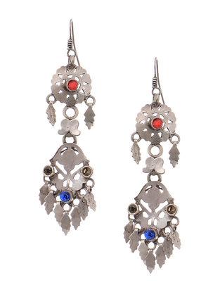 Red-Blue Tribal Silver Earrings