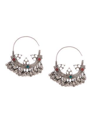 Red-Green Tribal Silver Earrings
