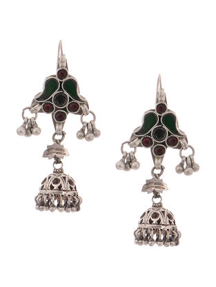 Red-Green Glass Tribal Silver Jhumkis