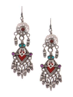 Multicolored Tribal Silver Earrings