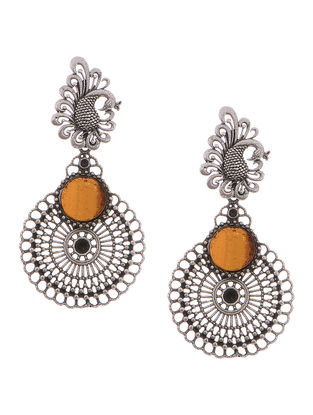 Yellow Glass Tribal Silver Earrings with Peacock Design