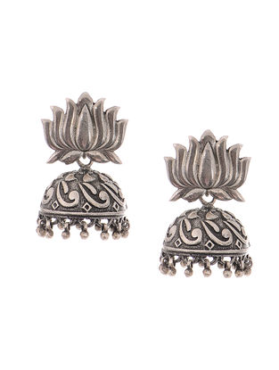 Tribal Silver Jhumkis with Lotus Design