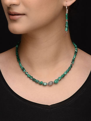 Malachite Beaded Silver Necklace with a Pair of Earrings (Set of 2)