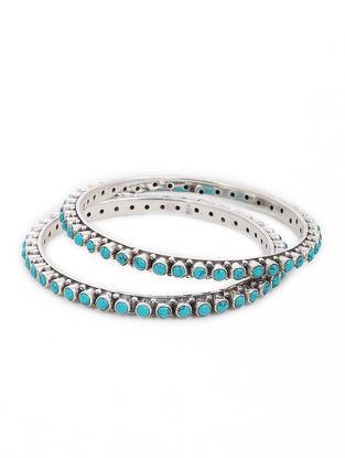 Turquoise Silver Bangles Set of 2 (Bangle Size -2)