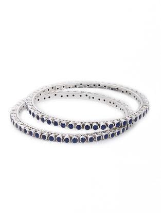 Blue Silver Bangles Set of 2 (Bangle Size -2/6)