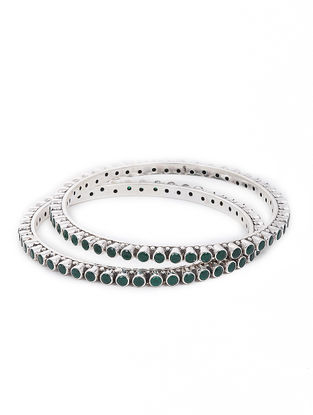 Green Silver Bangles Set of 2 (Bangle Size -2/10)