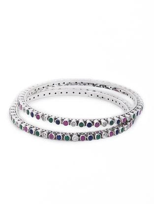 Pink-Green Silver Bangles Set of 2 (Bangle Size -2/12)
