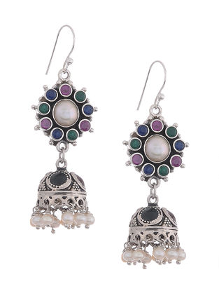 Multicolored Silver Jhumkis with Pearls