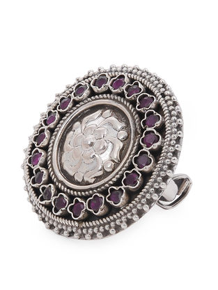 Pink Adjustable Silver Ring with Floral Motif