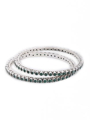 Green Silver Bangles Set of 2 (Bangle Size -2/6)
