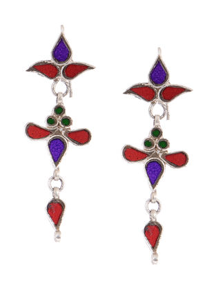 Purple-Red Glass Tribal Silver Earrings