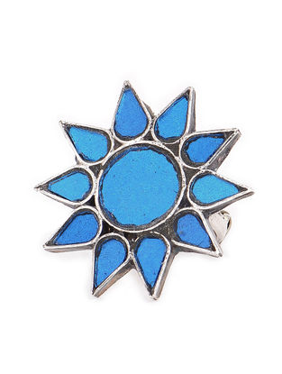 Blue Glass Tribal Adjustable Silver Ring