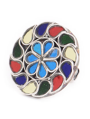 Multicolored Glass Tribal Adjustable Silver Ring