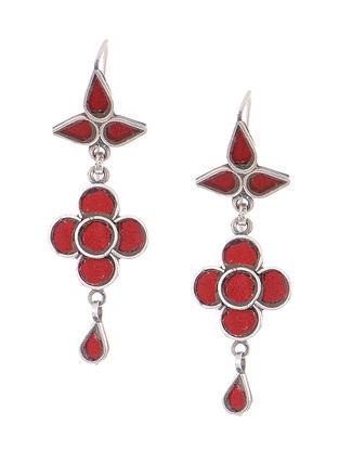 Red Glass Tribal Silver Earrings