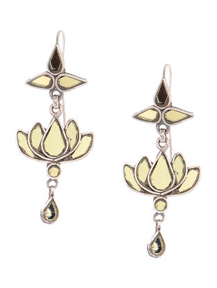 Yellow Glass Tribal Silver Earrings with Lotus Design