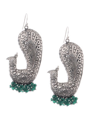 Green Tribal Silver Earrings with Peacock Design
