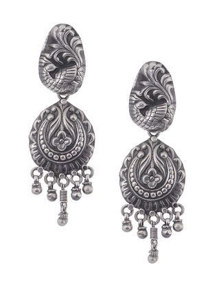 Tribal Silver Jhumkis with Peacock Motif