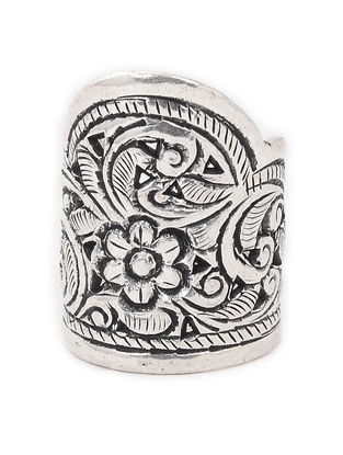Tribal Adjustable Silver Ring with Floral Motif