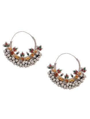 Red-Green Dual Tone Silver Earrings