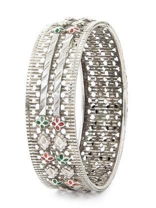 Red-Green Enameled Tribal Silver Bangle (Bangle Size -2/12)