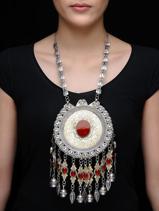 Red Dual Tone Tribal Silver Necklace