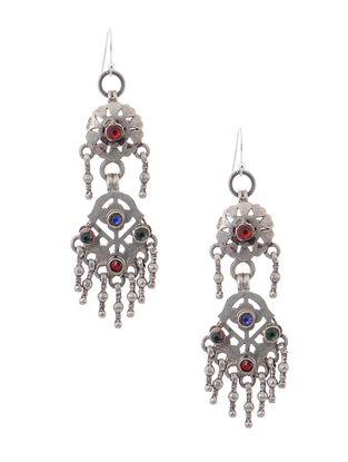 Blue-Red Tribal Silver Earrings