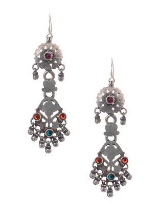 Orange-Blue Tribal Silver Earrings