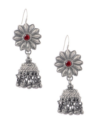 Red Tribal Silver Jhumkis with Floral Design