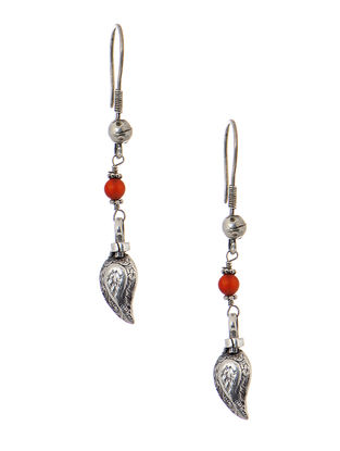 Orange Tribal Silver Earrings with Paisley Design