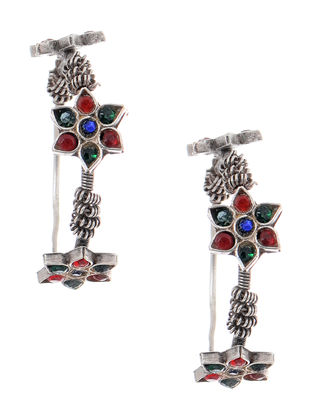 Red-Green Tribal Silver Earrings with Floral Design