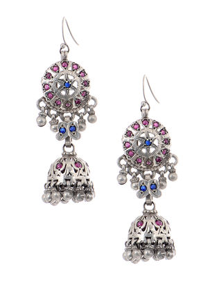 Pink-Blue Tribal Silver Jhumkis