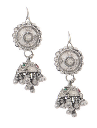 Red-Green Tribal Silver Jhumkis