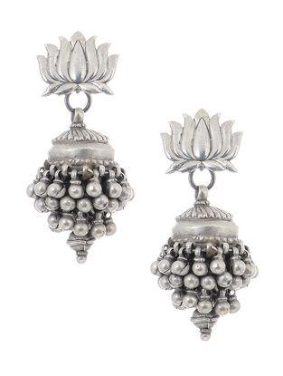Tribal Silver Jhumkis with Lotus Design