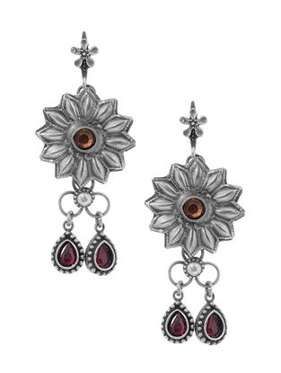 Red Tribal Silver Earrings with Floral Design