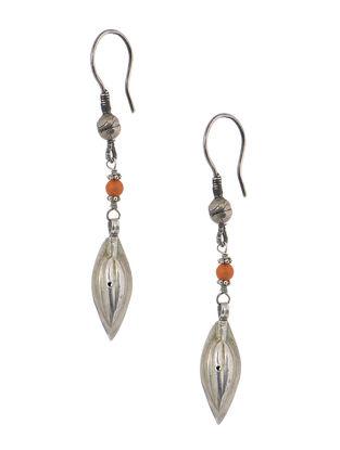 Orange Tribal Silver Earrings