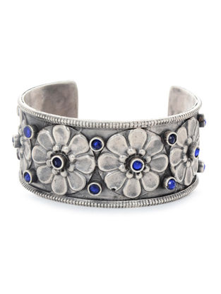 Blue Tribal Silver Cuff with Floral Motif