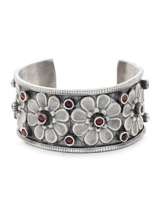 Red Tribal Silver Cuff with Floral Motif