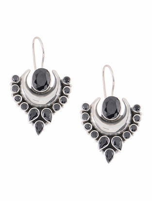 Black Sapphire Silver Earrings