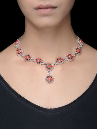 Red Silver Necklace with Floral Design
