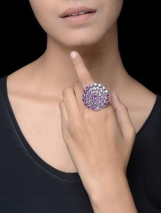 Pink Silver Adjustable Ring