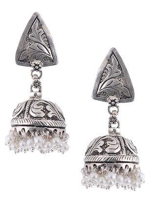 Pearl Drop Silver Jhumkis