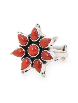 Coral Adjustable Silver Ring with Floral Design