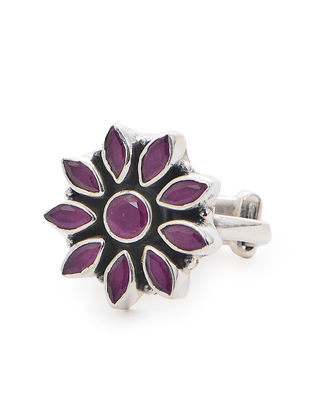 Purple Adjustable Silver Ring with Floral Design